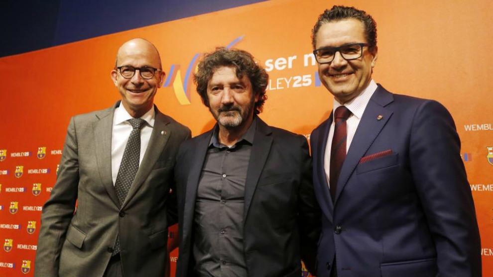 Cardoner, Bakero y Vives, en la presentación del homenaje a Wembley...