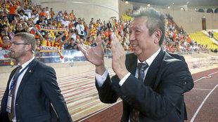 Peter Lim, durante el partido que el Valencia disputó en Mónaco en...