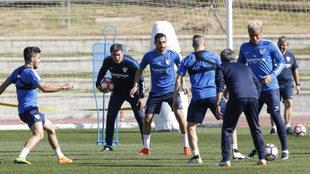 Los jugadores en un entrenamiento.