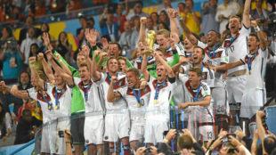 Los jugadores de Alemania celebran la Copa del Mundo 2014.