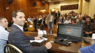 Fernando Giner, durante la asamblea de la Asociación de Futbolistas...