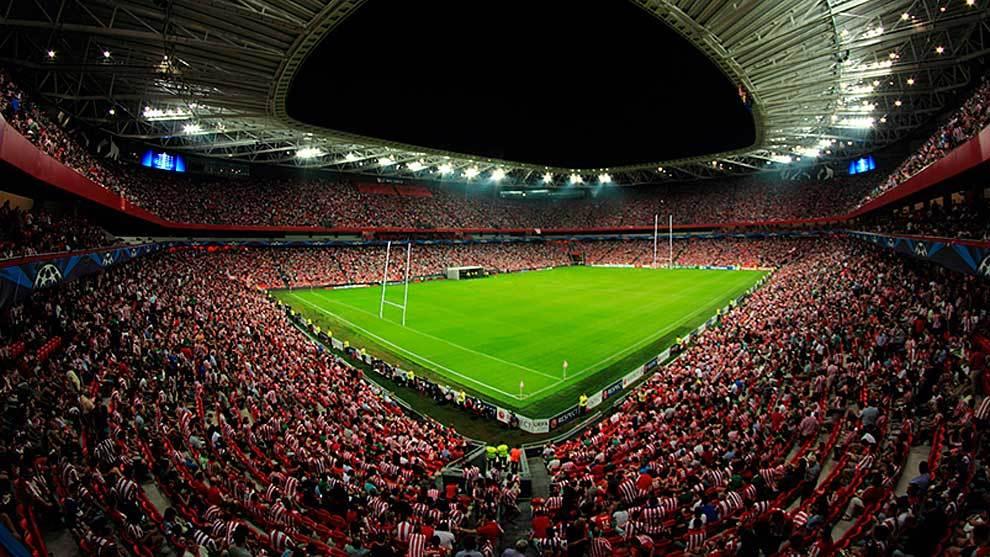 Así lucirá San Mamés con los palos de rugby en las finales europeas...
