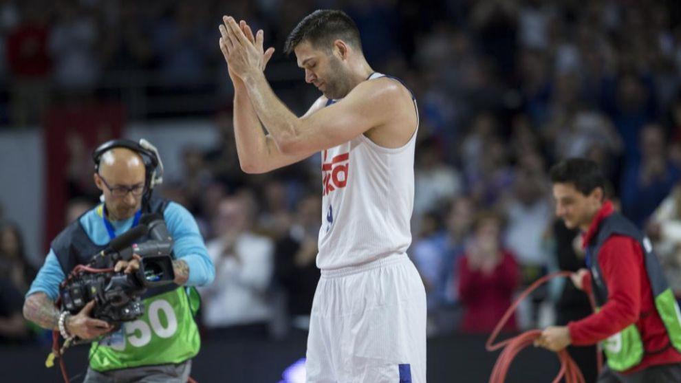 Felipe Reyes, durante el homenaje tras convertirse en el mejor...