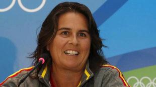 Conchita Martínez durante una rueda de prensa en los Juegos de Río.