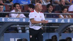 Sampaoli, en el partido de la Supercopa de Espa�a en el Camp Nou.