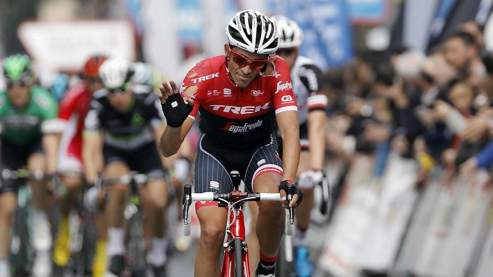 Alberto Contador, en la meta de Bilbao.
