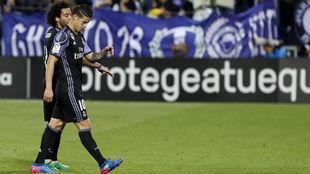 James, en el momento del cambio en el partido ante el Leganés.