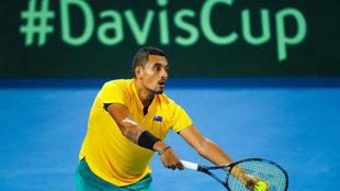 Kyrgios ante Isner en la eliminatoria de cuartos de la Copa Davis.