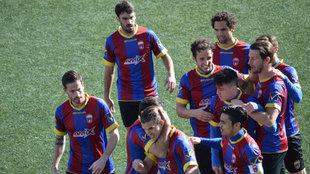 Los jugadores del Eldense, durante un partido.
