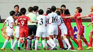 Las dos selecciones de Corea durante el partido