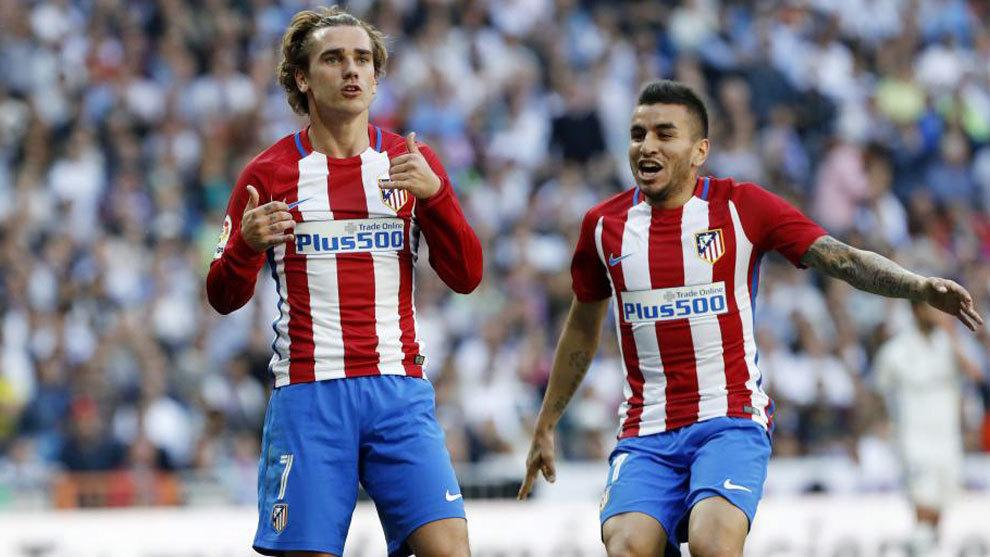 Griezmann celebra su gol en el Bernabeu
