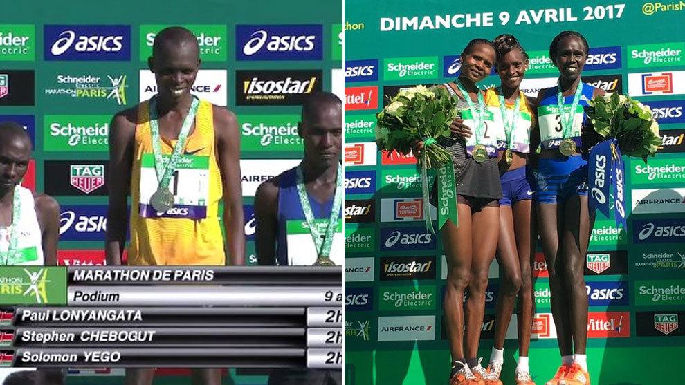 El podio masculino y femenino del maratón de París.