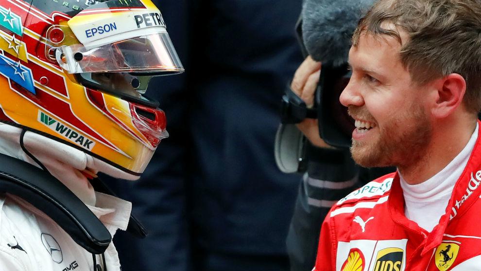 Hamilton y Vettel se saludaron cordialmente en la meta tras un nuevo...