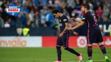 Neymar abandona la Rosaleda tras ser expulsado