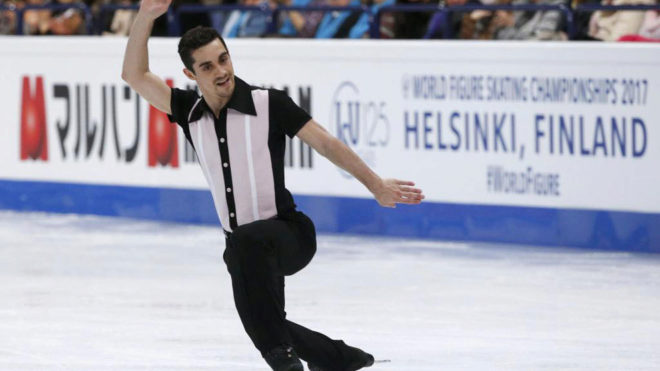 Javier Fernández en el Mundial de Helsinki.