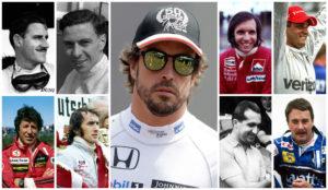 Alonso, flanqueado por Hill, Clark, Fittipaldi, Montoya, Andretti,...