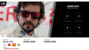 Cabecera de la ficha t�cnica de Alonso en la web de la IndyCar