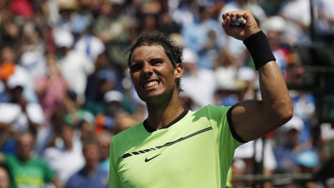 Rafa Nadal celebrando una victoria en Miami.