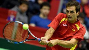 Albert Ramos en la eliminatoria de Copa Davis ante Serbia.