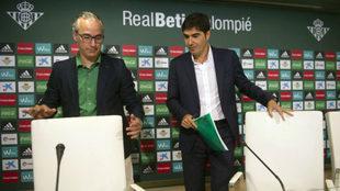 Miguel Torrecilla y Ángel Haro, antes de una rueda de prensa.