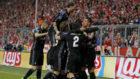 Los jugadores del Real Madrid, celebrando el segundo gol en M�nich.