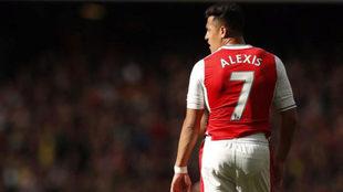 Alexis, en el partido ante el Manchester City.