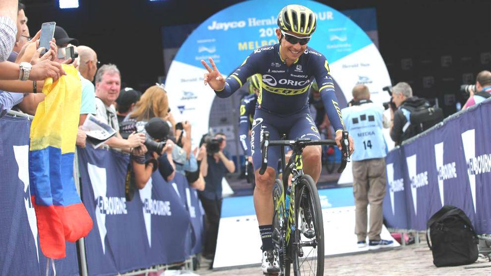 Esteban Chaves en el Herald Sun Tour de febrero, su última carrera...