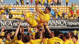 Sergio Mora durante su despedida del Alcorcón