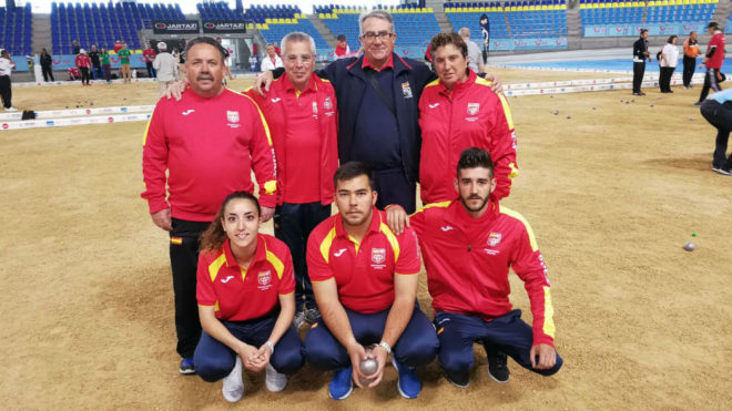 Jugadores y técnicos de España en el Mundial.