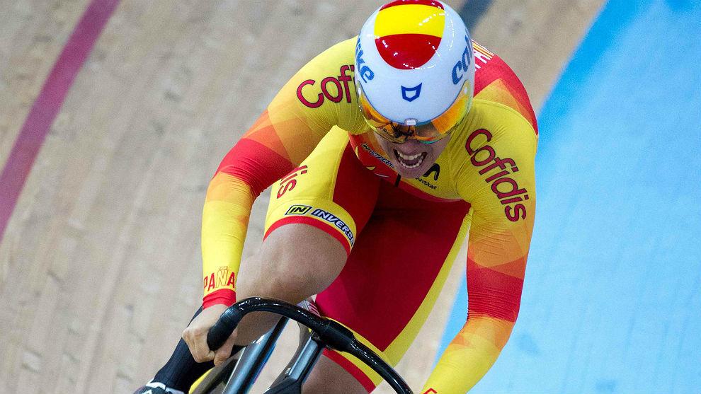 Tania Calvo, en pleno esfuerzo durante la prueba de 500 metros en...