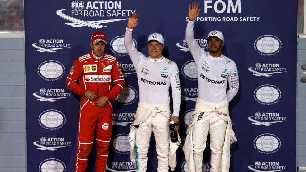 Vettel, Bottas y Hamilton, después de la calificación