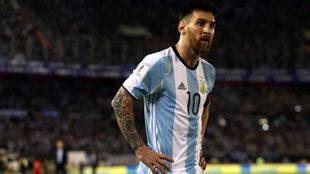 Messi, durante su último partido con la Albiceleste, en el Monumental...