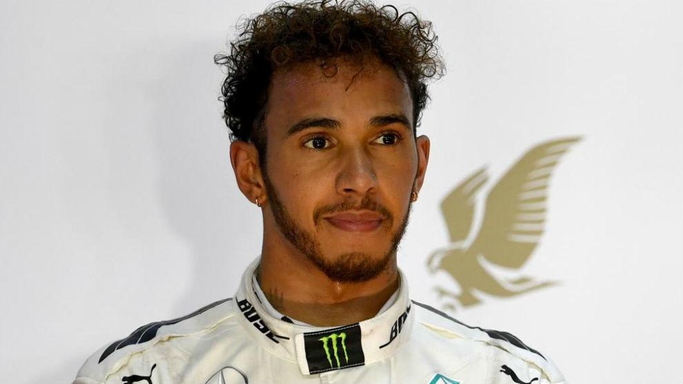Lewis Hamilton, en el podio al final de la carrera