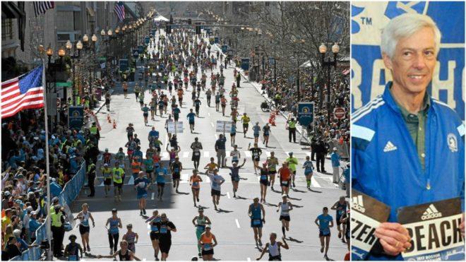 A la izquierda, los corredores del maratón en 2014. A la derecha,...