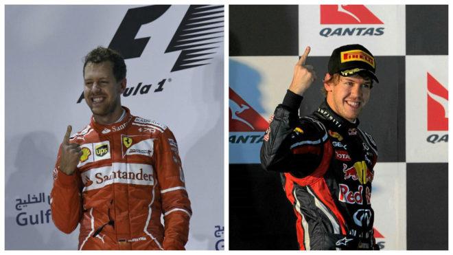 Vettel celebra las victorias de Bahréin 2017 y Australia 2011.