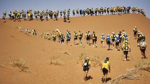 Imagen del Maratón de las Arenas, este mes de abril en el Sahara.