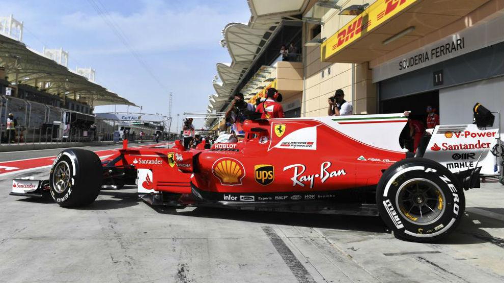 Vettel, con el SF70H, durante el pasado GP de Bahréin