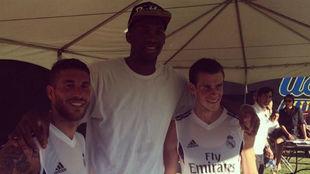 Joel Embiid durante un entrenamiento del Real Madrid varias temporadas...