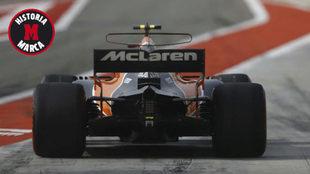 Stoffel Vandoorne pilota el McLaren MCL32 en Bahréin.