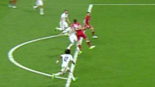 Captura televisiva del 1-2 del Bayern