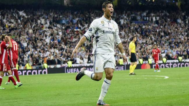 Cristiano Ronaldo celebrando uno de sus goles al Bayern