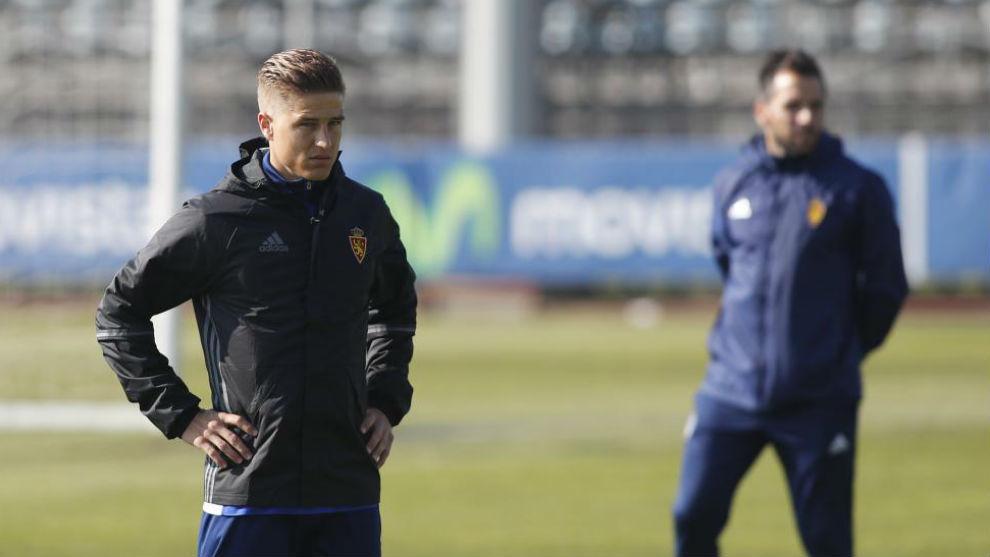 Wilk durante un entrenamiento con el Real Zaragoza.