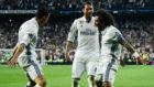 Marcelo, Cristiano y Ramos celebran un gol del portugu�s ante el...