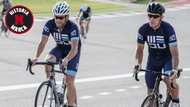 Armstrong (izqda) y John 'College' Korioth participan en una prueba...
