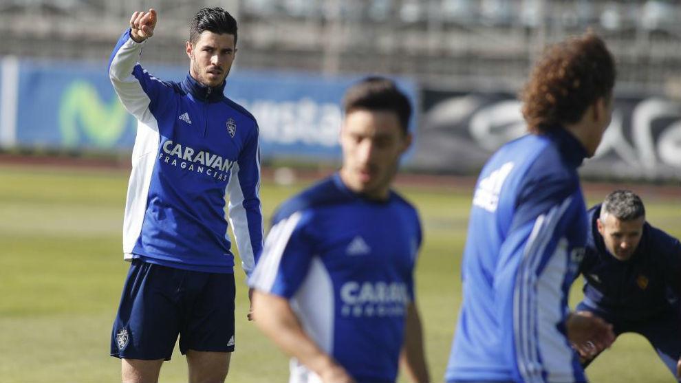 Edu García en un entrenamiento en la Ciudad deportiva.