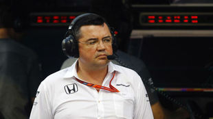 Eric Boullier, durante el test post carrera de Bahr�in.