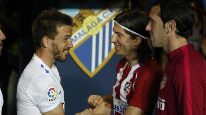 Camacho saluda a Filipe y Godín.