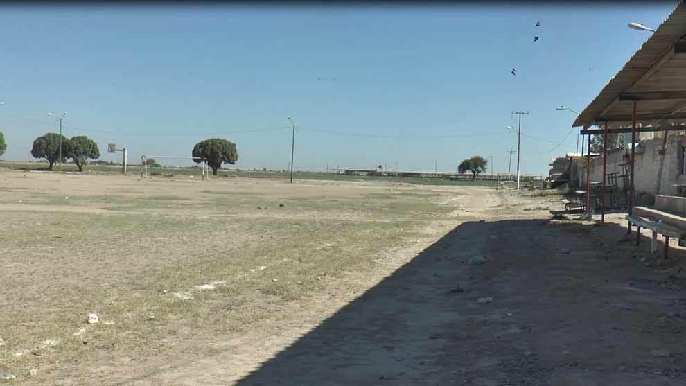 Cancha de fútbol en La Partida, Coahuila.