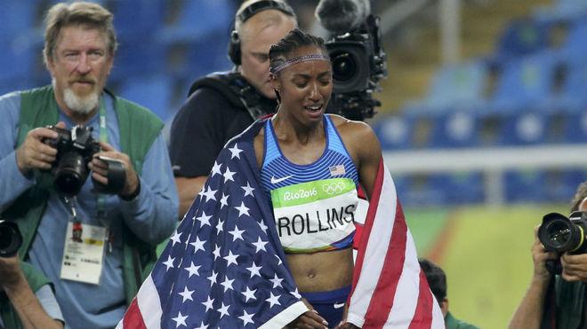 Brianna Rollins, tras ganar el oro en los Juegos de Río.