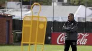 Paco Herrera, en la sesión de entrenamiento del Valladolid de este...